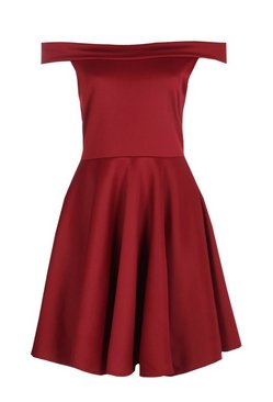 Berry Off The Shoulder Skater Dress