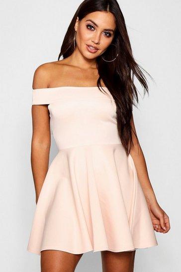 Blush pink Off The Shoulder Skater Dress