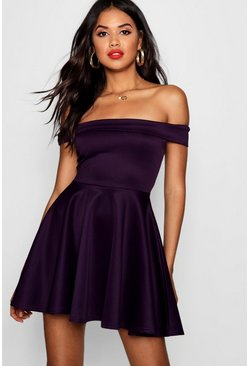 Grape purple Off The Shoulder Skater Dress