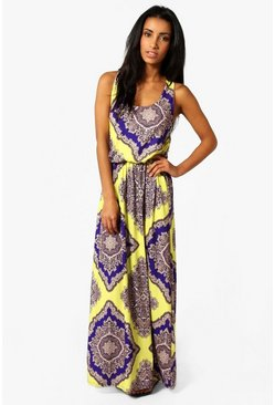 Multi Neon Paisley Racer Back Maxi Dress