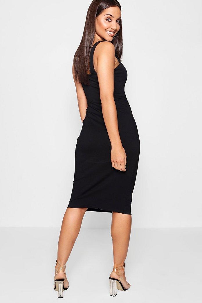 Figurbetontes Midi Kleid Mit Karree Ausschnitt Boohoo