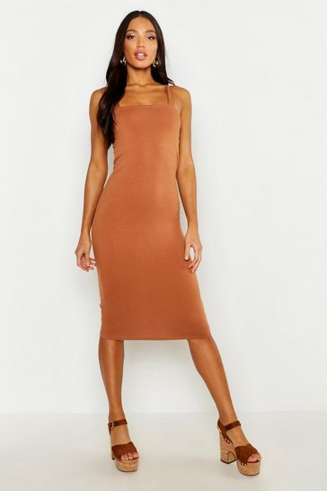 Toffee beige Square Neck Bodycon Midi Dress