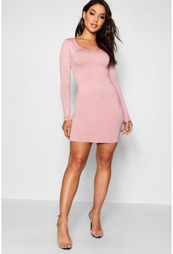 Antique rose pink Long Sleeve Scoop Neck Bodycon Dress