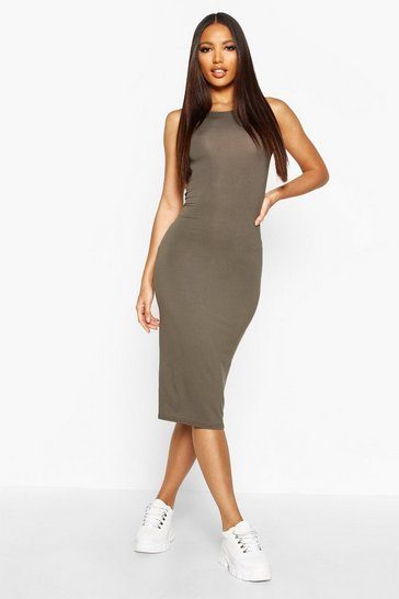 Khaki Sleeveless Midi Dress