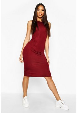Wine red Sleeveless Midi Dress