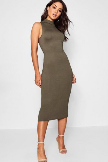 Khaki Turtle Neck Sleeveless Midi Bodycon Dress