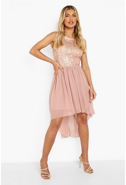 Blush pink Sequin Chiffon Dip Hem Open Back Bridesmaid Dress