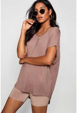 Mocha beige Basic Oversized T-Shirt