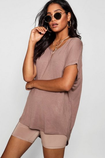 Mocha Basic Oversized T-Shirt