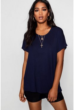 Navy Basic Oversized T-Shirt
