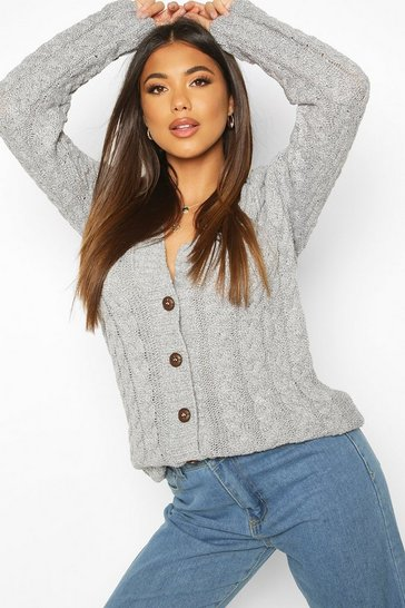 Grey marl Cable Knit Cardigan