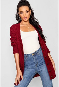 Wine red Cable Knit Cardigan