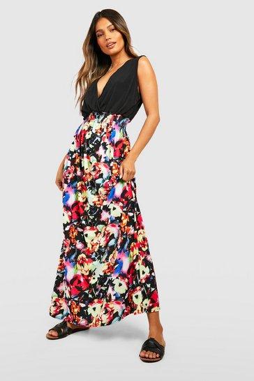 Black Rose Print Maxi Dress