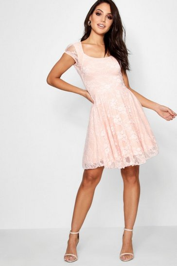 Nude Cap Sleeve Lace Skater Dress