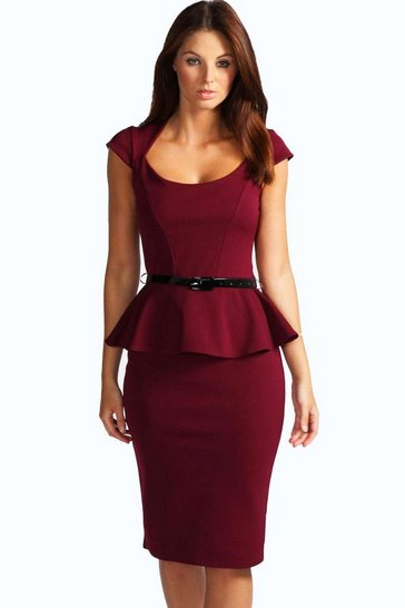 Berry red Keeley Peplum Belted Midi Dress