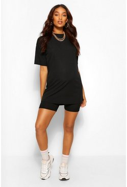 Black Maternity Rib Oversized T-shirt