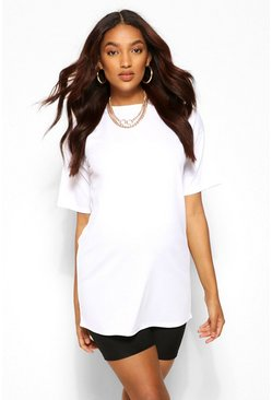 White Maternity Rib Oversized T-shirt