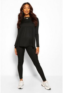 Black Maternity Rib Lounge Set