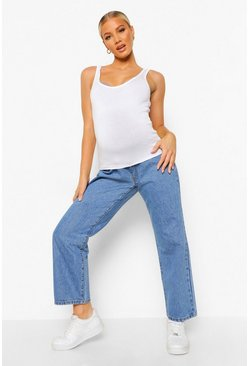 Mid blue blue Maternity Stretch Wide Leg Jean