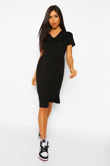 Black Maternity Collar Detail Smock Dress