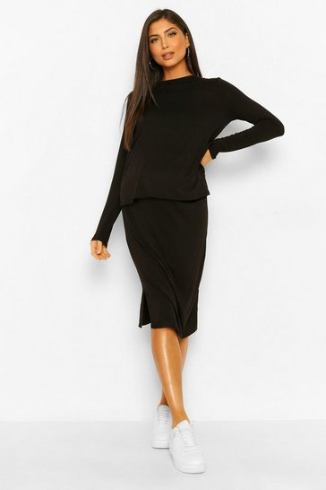 Black Maternity T-shirt Split Midi Skirt Co-ord Set
