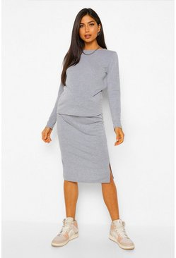Grey Maternity T-shirt Split Midi Skirt Co-ord Set
