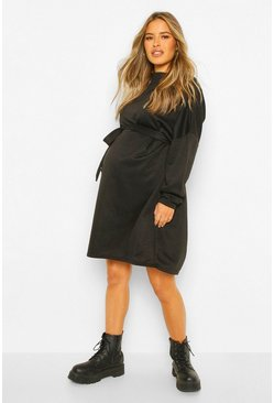 Black Maternity High Neck Tie Waist Sweat Dress