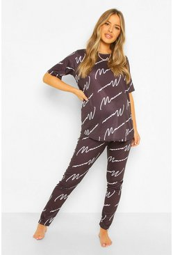 Black Maternity Mama Pyjama Trouser Set