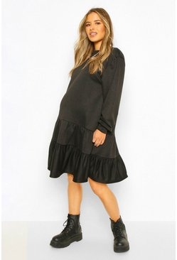 Black Maternity Tiered Sweat Smock Dress