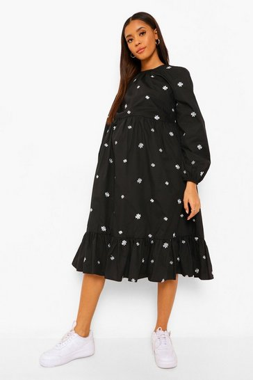 Black Maternity Ditsy Embroidered Midi Smock Dress