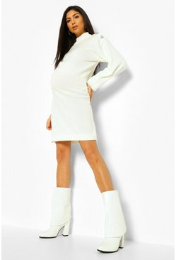 Ecru white Maternity Diamante Button Detail Jumper Dress
