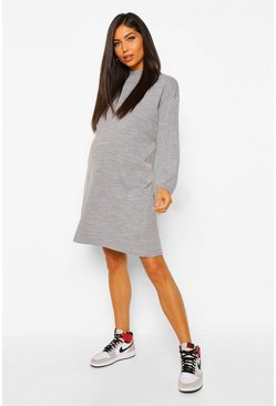 Grey marl grey Maternity Balloon Sleeve Knitted Dress