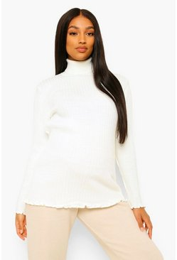 Cream white Maternity Lettuce Hem High Neck Jumper