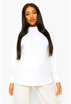 Cream white Maternity High Neck Jumper