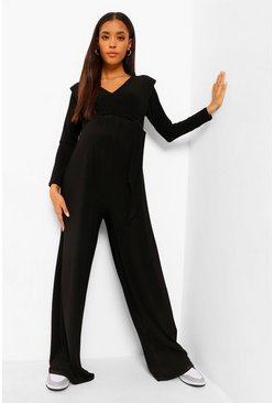 Black Maternity Shoulder Pad Wide Leg Jumpsuit