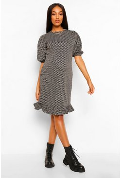 Black Maternity Shimmer Leopard Jacquard Smock Dress
