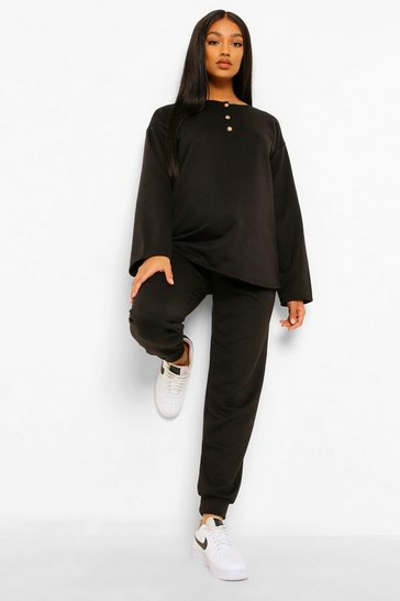 Black Maternity Button Front Sweat And Jogger Set