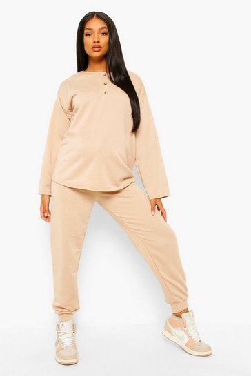 Stone beige Maternity Button Front Sweat And Jogger Set