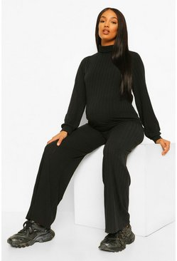 Black Maternity High Neck Lounge Set