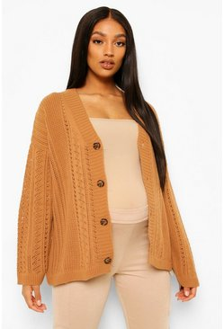 Camel Maternity Crochet Knit Cardigan