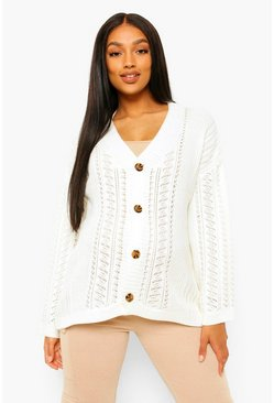 Cream white Maternity Crochet Knit Cardigan