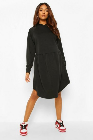 Black Maternity Hooded Sweat Smock Dress