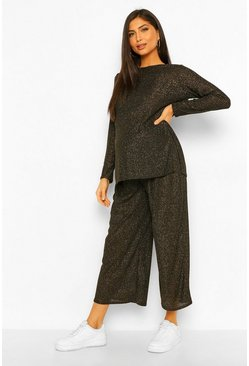 Black Maternity Metallic Knitted Culotte Co-ord Set