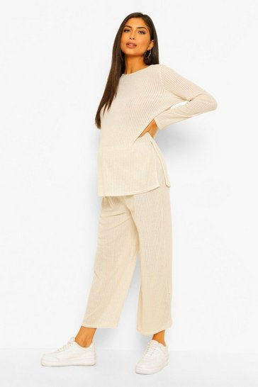 Cream white Maternity Metallic Knitted Culotte Co-ord Set