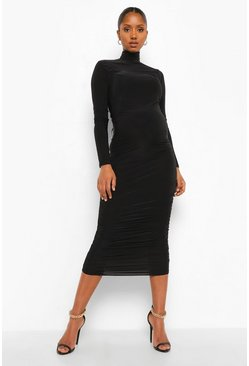 Black Maternity Slinky Ruched Side High Neck Midi Dress
