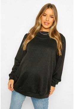 Black Maternity Puff Sleeve Sweatshirt