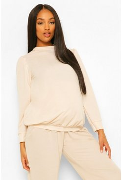 Ecru white Maternity Puff Sleeve Sweatshirt