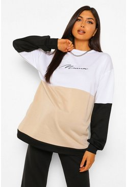 Stone beige Maternity Mama Colourblock Sweatshirt