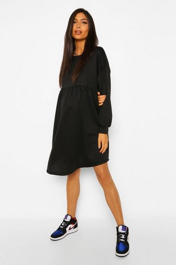Black Maternity Smock Sweat Dress