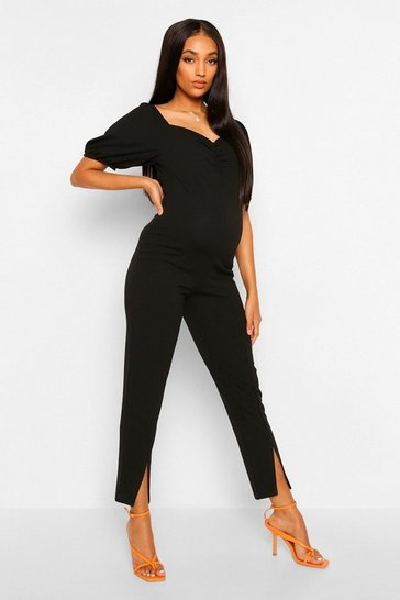 Black Maternity Puff Sleeve Split Leg Jumpsuit
